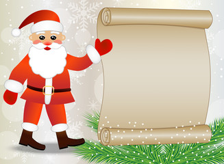 Santa claus shows on the sheet of paper, christmas background