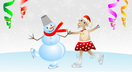 merry goat in a skirt and snow man on skates
