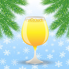 glass of champagne and branch of christmas tree