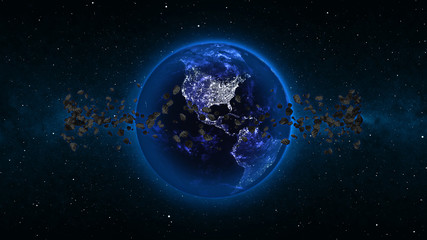 Earth in universe, space, galaxy with asteroids or meteors