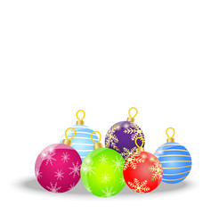 festive balls on a white background
