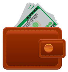 Leather wallet with US dollar image