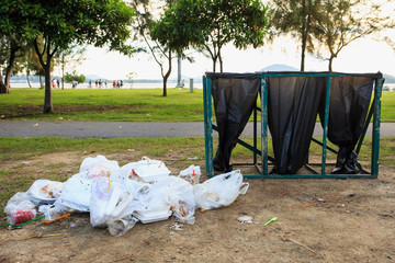 Piles of garbage in the park