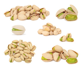 Set ripe pistachio nuts (isolated)