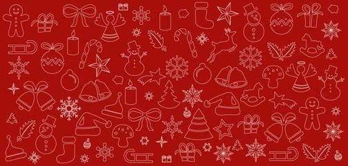 Weihnachten Ornament Icons Karte Hintergrund Muster rot