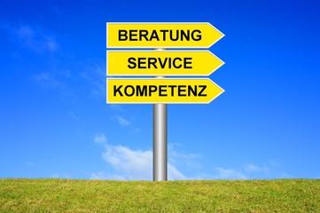 Schild Wegweiser: Beratung Service Kompetenz