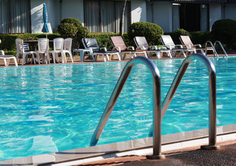 The pool in hotel on the holiday