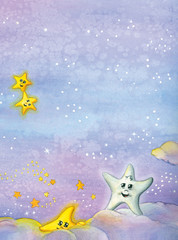 Watercolor illustration of stars playing in the sky.