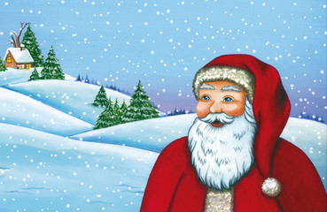 Santa Claus on a Christmas day . Watercolor illustration