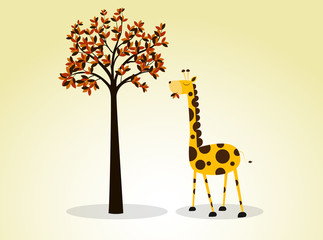 Illustration Giraffe Eating Leaves