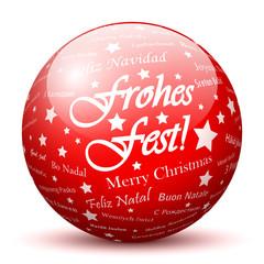 Frohes Fest, Rote Kugel, Glaskugel, Rot, Textur, bedruckt, 3D