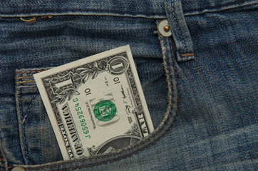 Dollar note in Jeans pocket