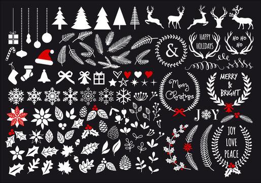 White Christmas set, vector design elements