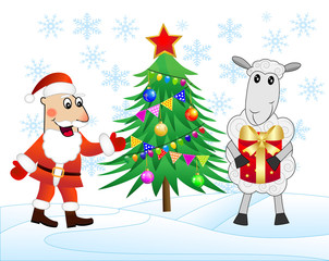 Santa claus, sheep and christmas tree