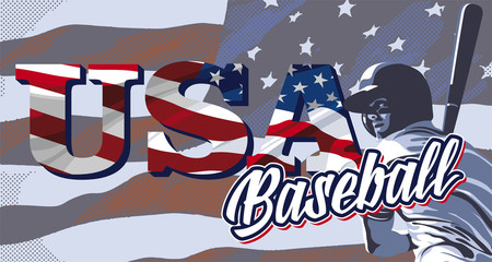 Baseball player hitting and American flag