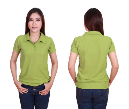 set of blank polo shirt (front, back) on woman isolated on white