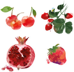Set of  cherry strawberry garnet