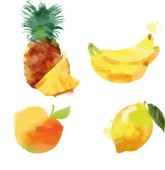 Set of pineapple banana apple lemon