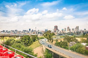 Johannesburg skyline with urban buildings and highways