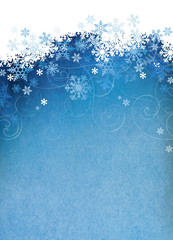 Snowflake background with room for copy space.