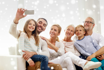 happy family taking selfie with smartphone at home