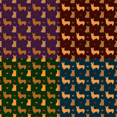 corgi dog seamless pattern vector background