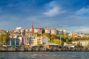 Istanbul buildings along Bosphorus river, Turkey