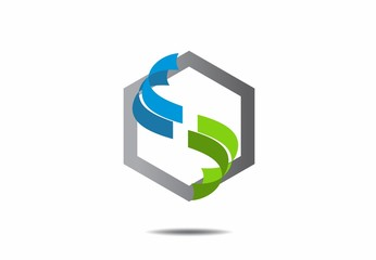 abstract ribbon letter s air polygon logo