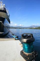 super yacht and navigation light