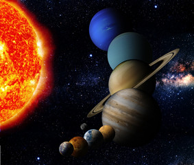 Fototapete - The sun and nine planets of our system orbiting