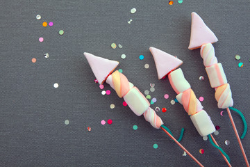 Conceptual Sweet Marshmallow Rocket Fireworks
