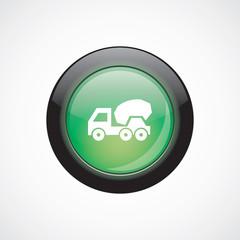 concrete mixer glass sign icon green shiny button