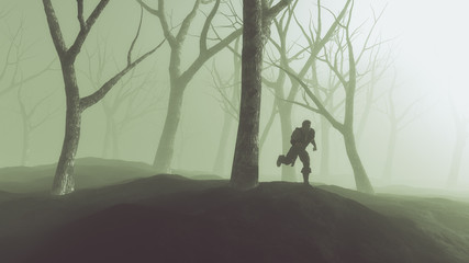 Silhouette of lost man running through misty winter forest. Back