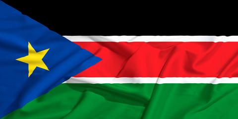 South Sudan flag on a silk drape waving