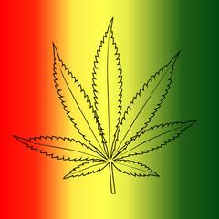 Vector cannabis leaf on rastafarian flag background.