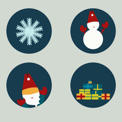 Vector Set of  winter icons in flat style