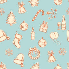 Vector Seamless New Year and Christmas Pattern