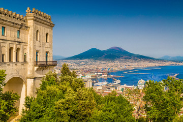 Fotobehang Napels City of Naples with Mt Vesuvius, Campania, Italy