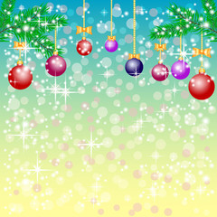 Greeting christmas background in blue and yellow colors