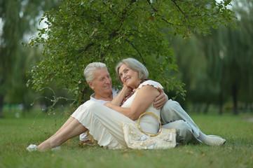 senior couple lying