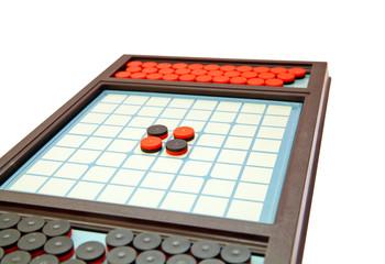 Strategic othello game, selective focus on center