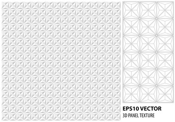 Abstract white geometric 3d panel. Vector seamless texture