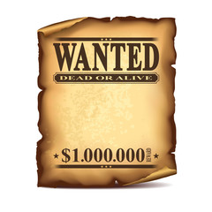 Wintage wanted poster isolated on white vector