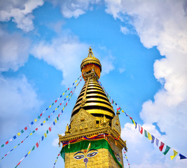Prayer flags on Swayambhunath Stupa, Kathmandu, Nepal