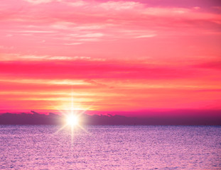 Bright Colorful Sunset On The Sea