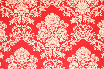 rote barock Tapete mit goldenen Rosenmuster