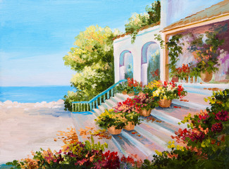 Oil painting landscape - terrace near the sea