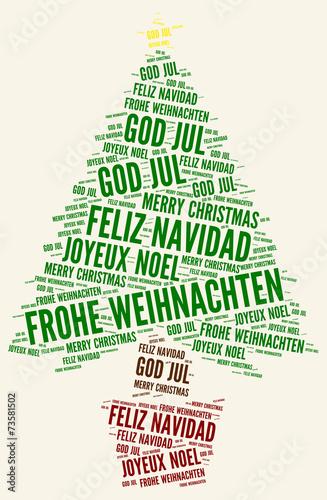 Frohe Weihnachten Schwedisch.Illustration Grafik Frohe Weihnachten Mehrsprachig