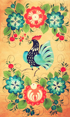 Traditional russian decorative wooden board. Painting with flora