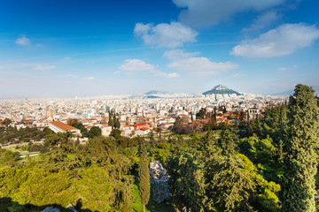 City from Acropolis in Athens, Greece